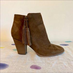 Merona Brown Vegan Suede Block Heel Booties